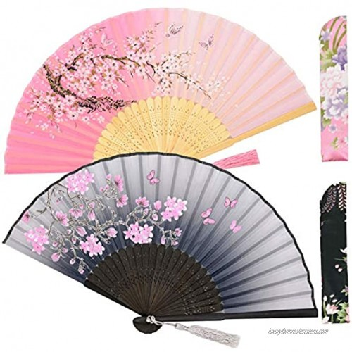 Zolee 2 PCS Small Folding Hand Fans for Women Chinese Japanese Vintage Bamboo Silk Fans for Dance Performance Decoration Wedding Party,Gift Gray & Pink Sakura