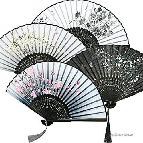 Zonon 4 Pieces Handheld Floral Folding Fans Flower Hand Held Fans Silk Bamboo Fans with Tassel Women's Hollowed Bamboo Hand Holding Fans for Women and Men 4 Styles