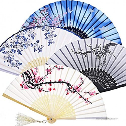 Zonon Handheld Floral Folding Fans Hand Held Fans Silk Bamboo Fans with Tassel Women's Hollowed Bamboo Hand Holding Fans for Women and Men White Blue Dark Blue and Black
