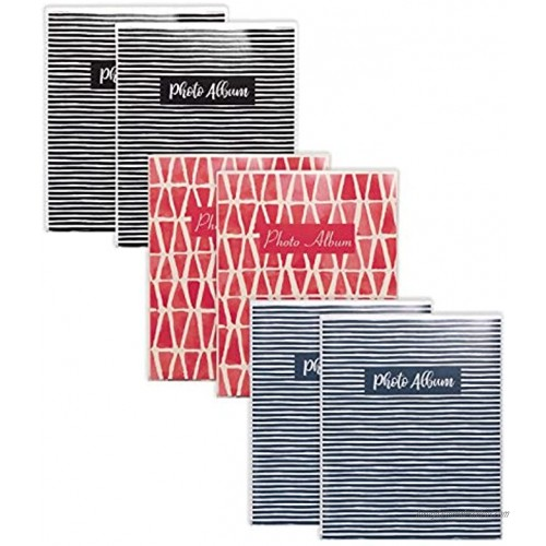 36 Photo Mini Photo Album 4 x 6 Inch Pack of 6 Flexible Cover with Removable Decorative Inserts Clear View Front Cover by Better Office Products 6 Pack