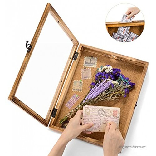 Shadow Box Frame Memory Box Display Case Picture Frame for Ticket Wine Cap with 12 Stick Pins Glass Front Cover 14x11in 36x17cm Brown Wood