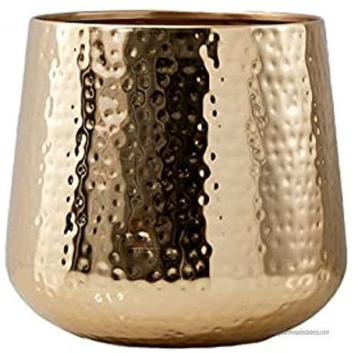 Serene Spaces Living Large Shiny Hammered Gold Bowl Shiny Gold Multipurpose Bowl Modern Fruit Bowl Decorative Bowl for Flowers or Floating Candles Planter Measures 8.75 Tall & 9.25 Diameter