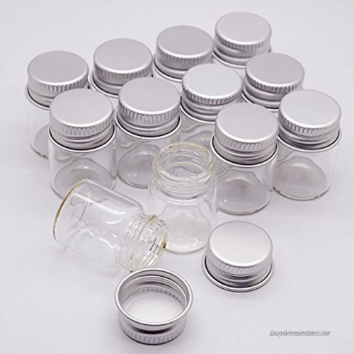 Dowonsol 12pcs 5ml Vials Clear Glass Bottles Glass Bottle with Aluminum Screw Top Strong Cute Empty Sample Jars for Message Bottle Samples Scrap-Booking,Wedding Favors Wedding Decorations