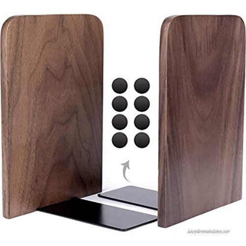 """Anwenk Bookends Wooden Book Ends Natural Walnut Wood Decorative Art Bookends for Shelves Hand Crafted with Felt Pads for Home Office Library School Children Decoration Gift 1 Pair 6.7""""x4.8""""x4.2"""""""