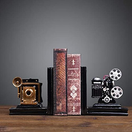 Home Decorative Camera & Projector Vintage Design Resin Bookshelf Bookends,Paper Weights Book Ends,Bookend Supports Book Stoppers Set of 2